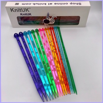 KnitUK 35cm Single Point knitting needles Set of 8 - with crystal-like rhinestone