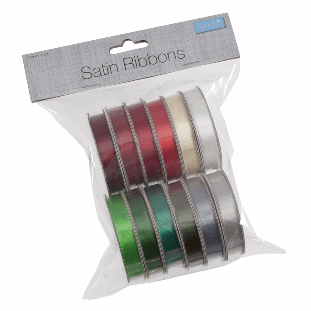 Satin Ribbon Bag of 12 (2m x 10mm). Festive Mix Xmas (Trimits)