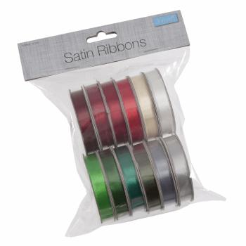 Satin Ribbon Bag of 12 (2m x 10mm). Festive Mix Xmas (Trimits)