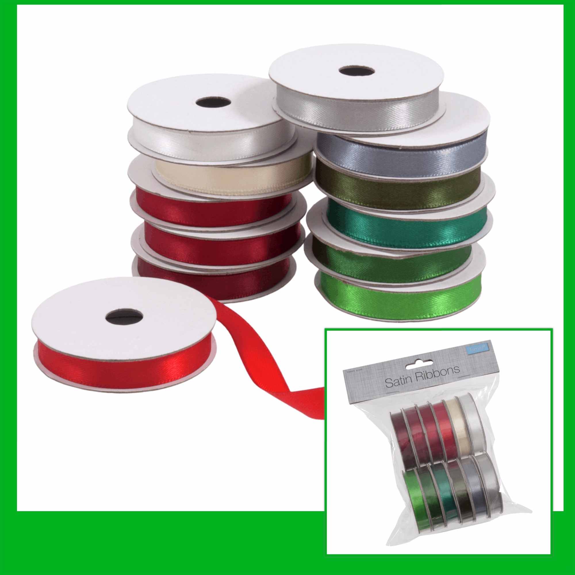 Trimits 10mm satin ribbon festive mix Christmas 12 colours