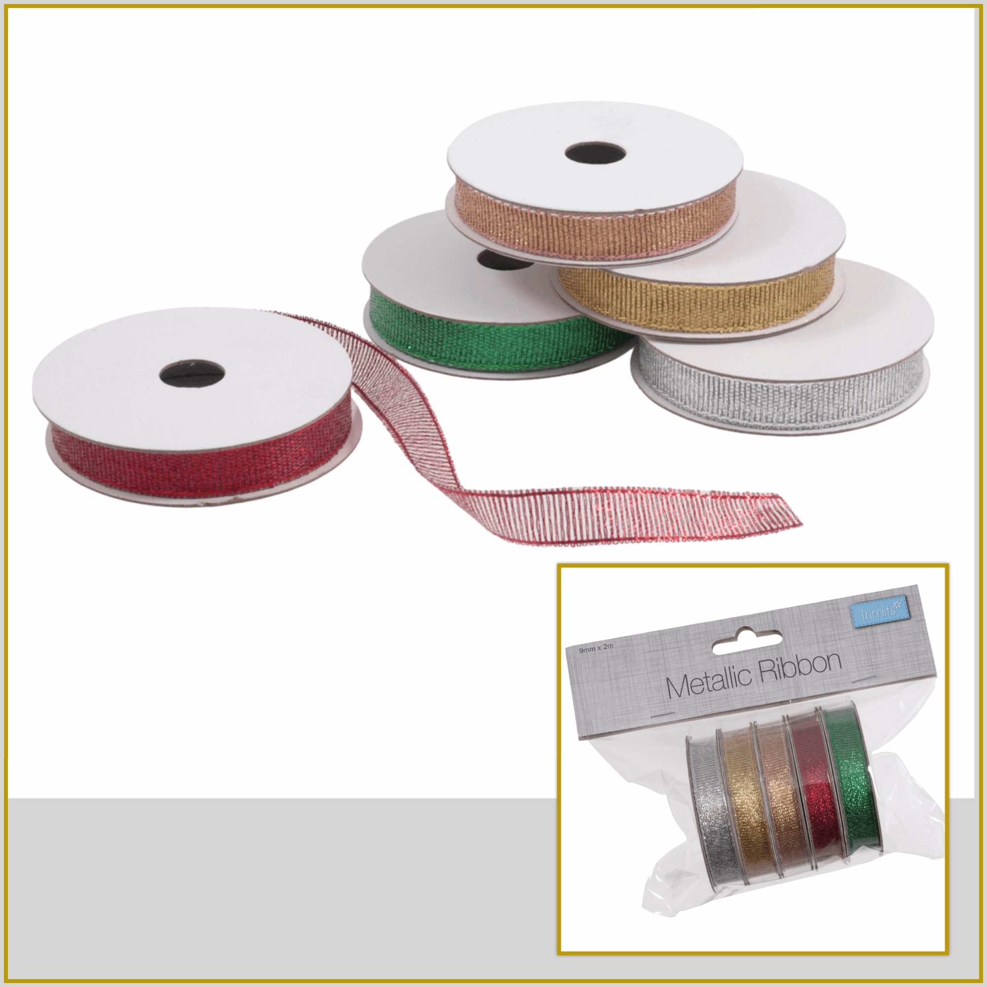 trimits satin ribbon metallic