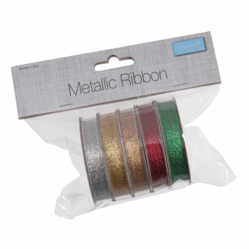 Metallic Ribbon Bag of 5 (2m x 9mm).  (Trimits)