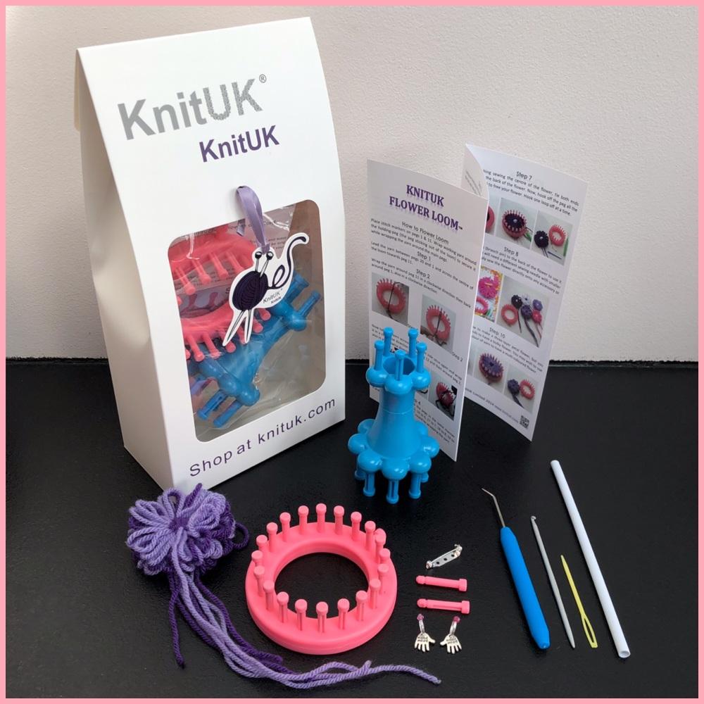 KnitUK Embellishment set pink flower knitting loom blue double end spool lo