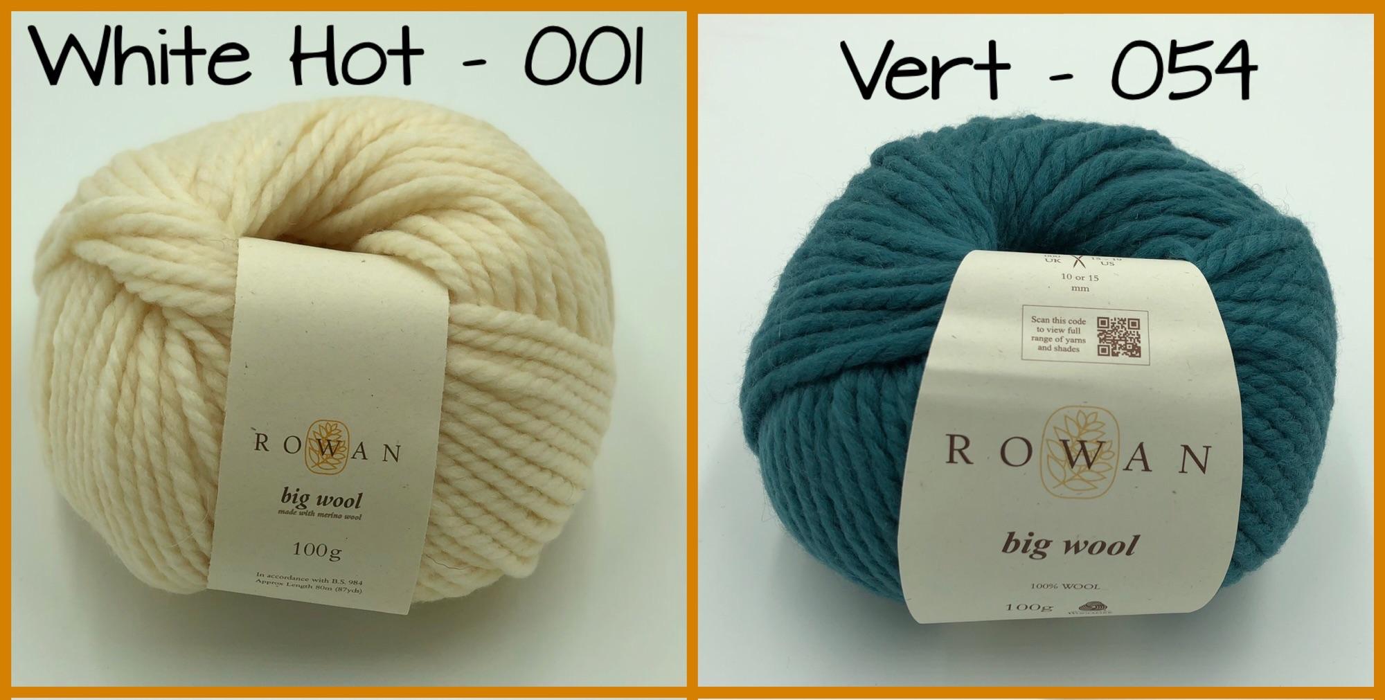 rowan big wool super chunky yarn white hot vert sun zing merino wool 100g