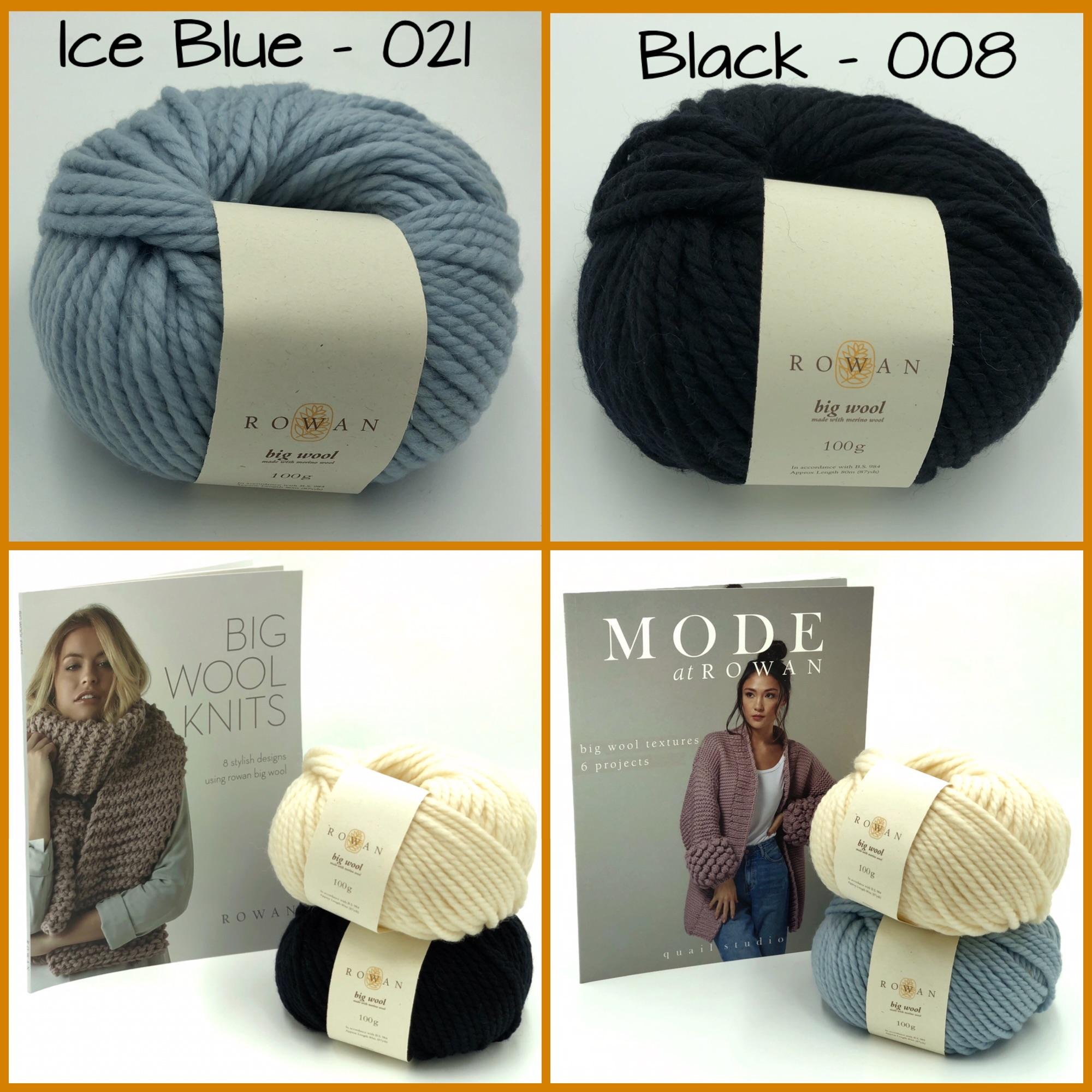 rowan big wool super chunky yarn ice blue black merino 100g big wool knit