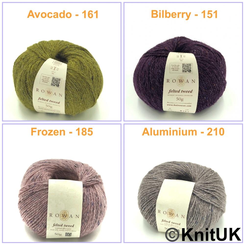 rowan felted tweed yarn avocado bilberry frozen aluminium wool aplaca visco