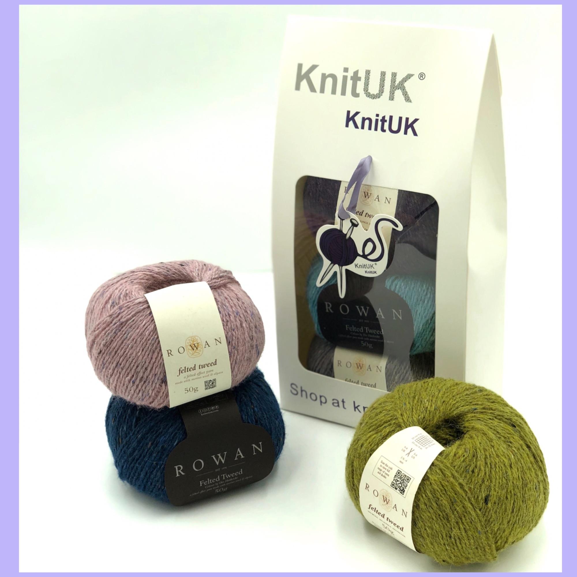 rowan felt tweed knitting yarn 3 balls knitUK box