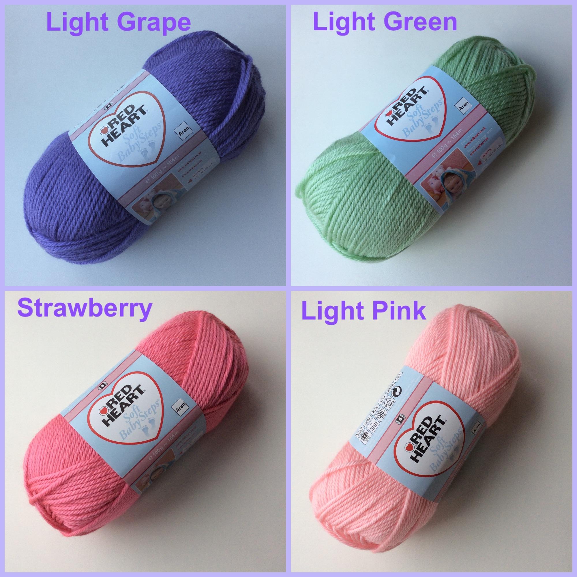 red heart yarn soft baby steps light grape green pink strawberry