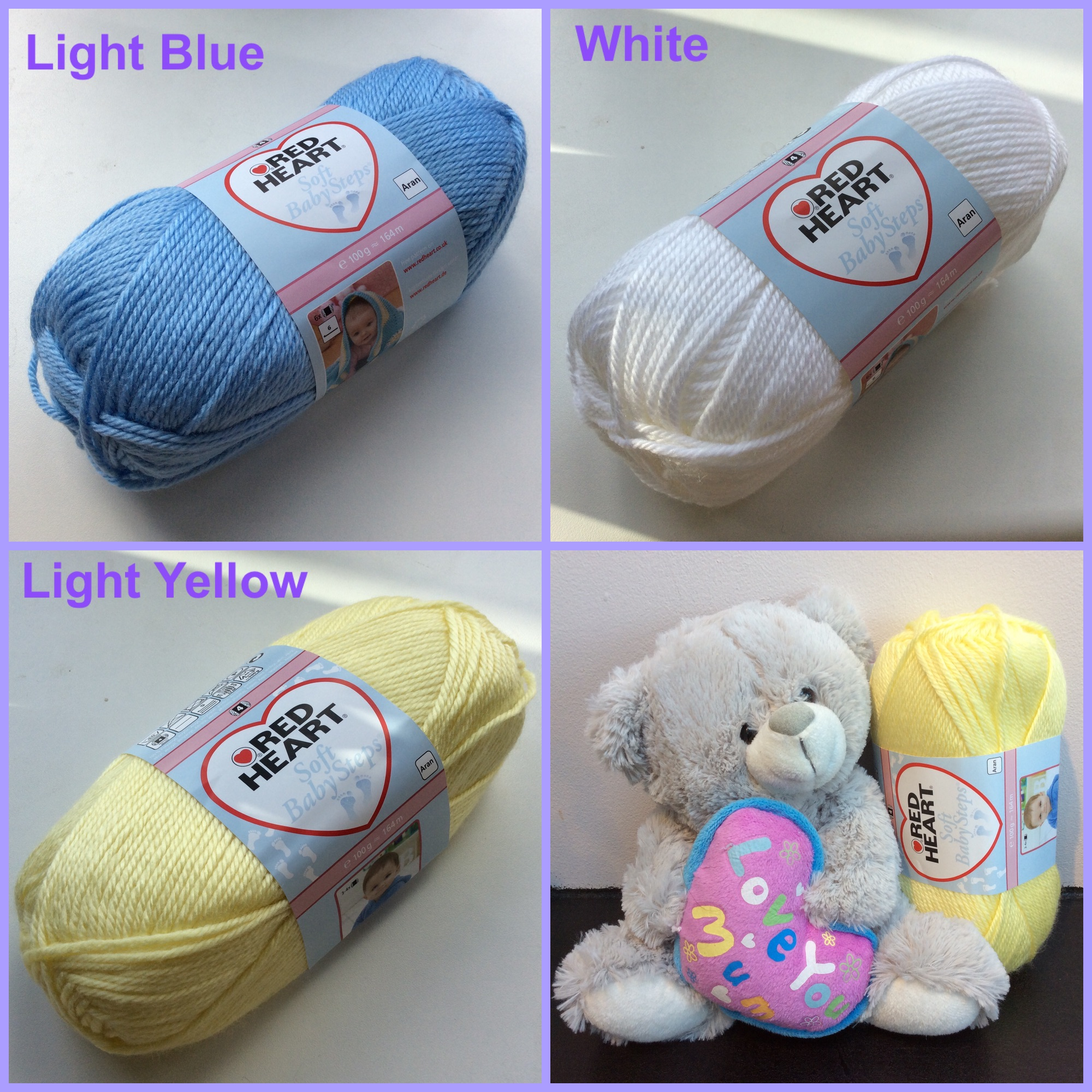 red heart yarn soft baby steps light blue yellow white