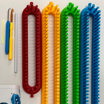 KnitUK Long Knitting Loom Set of 4: with pegs all-fitted