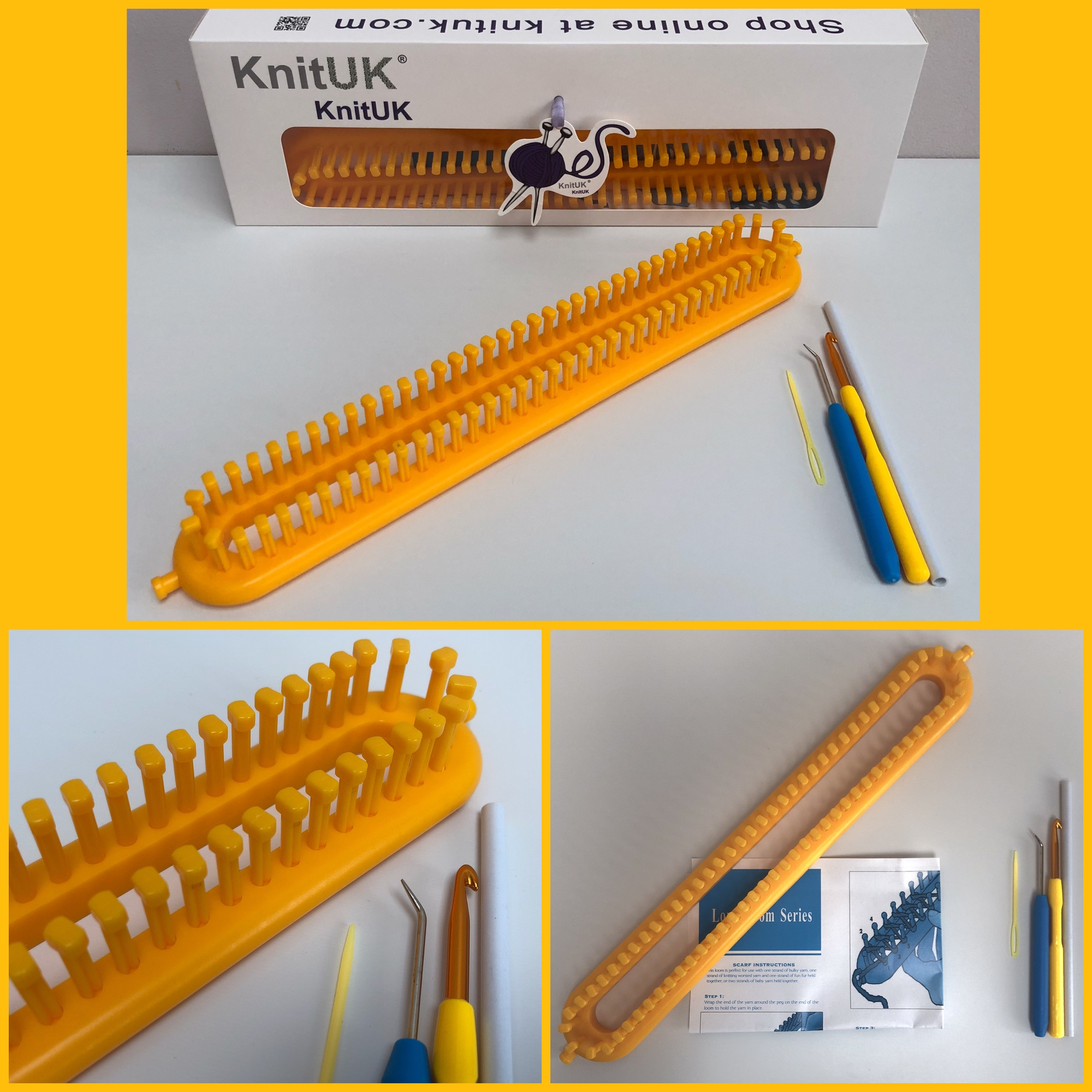 medium gauge loom KnitUK Long Yellow  Knitting Loom 76 pegs fitted .