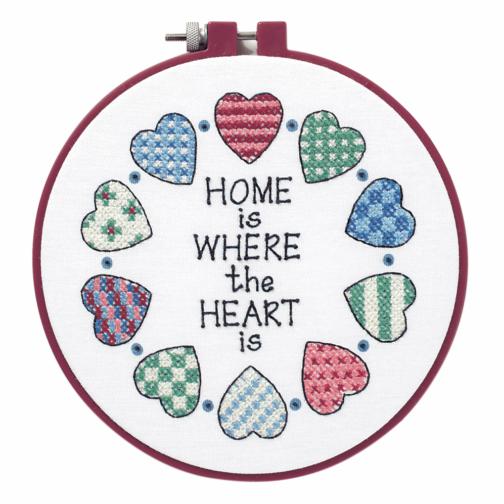 """Cross Stitch - Stamped Cross Stitch Kit with Hoop: """"Home and Heart"""". (Dimen"""