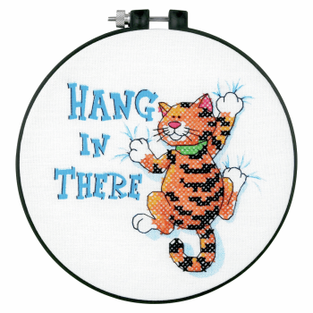 "Cross Stitch - Learn-a-Craft. Stamped Cross Stitch Kit and Hoop: ""Hang in There"". (Dimensions)"