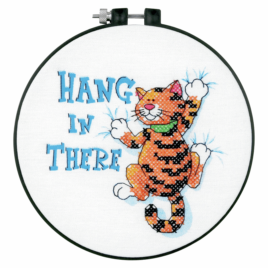 """Cross Stitch - Stamped Cross Stitch Kit with Hoop: """"Hang in There"""". (Dimens"""