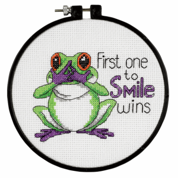 "Cross Stitch - Learn-a-Craft. Cross Stitch Kit and Hoop: ""First One to Smile"". (Dimensions)"