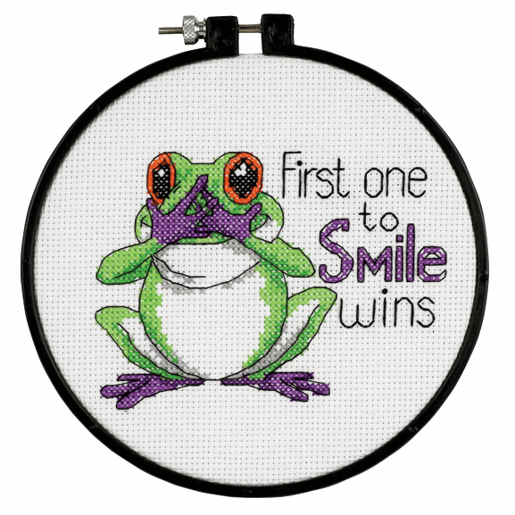 "Cross Stitch - Learn-a-Craft. Cross Stitch Kit with Hoop: ""First One to Smi"