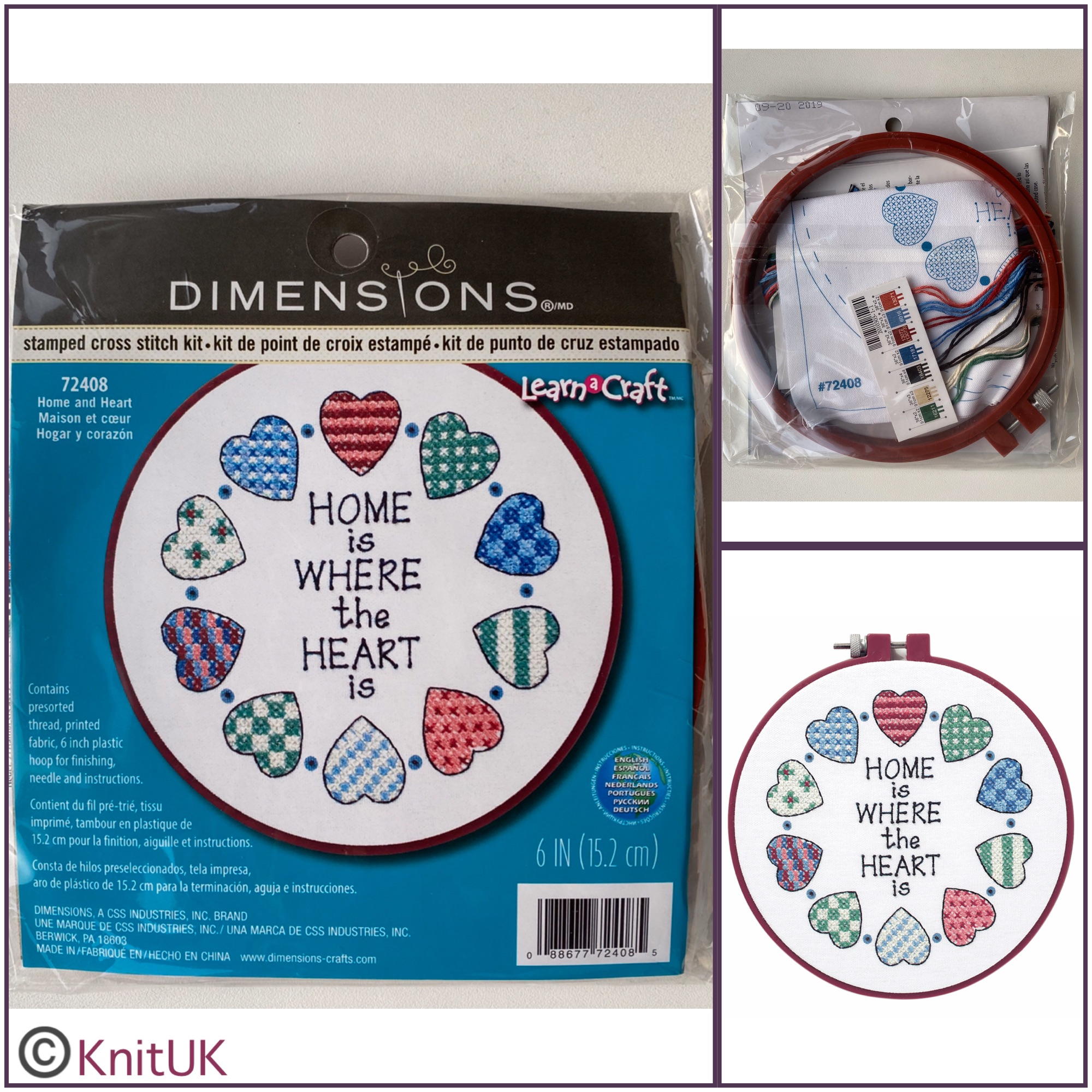 Dimensions Home and Heart stamped cross stitch kit and hoop
