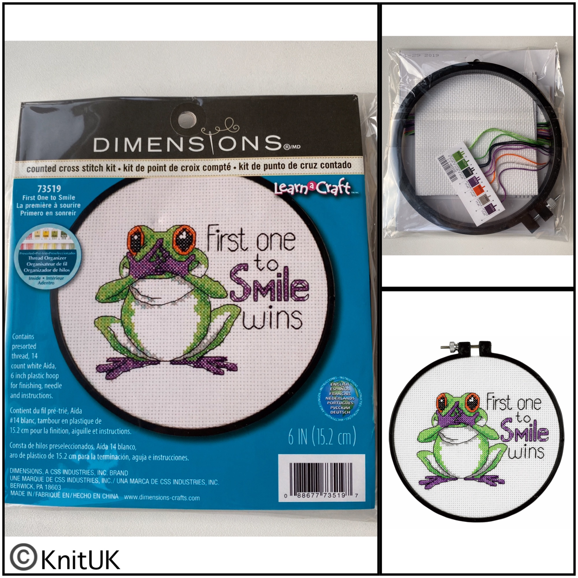 Dimensions First one to smile cross stitch kit and hoop learn a craft