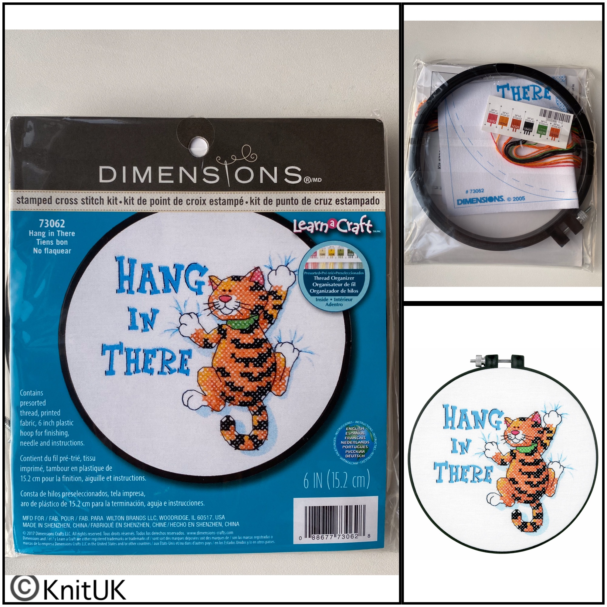 Dimensions Hang in There stamped cross stitch kit and hoop
