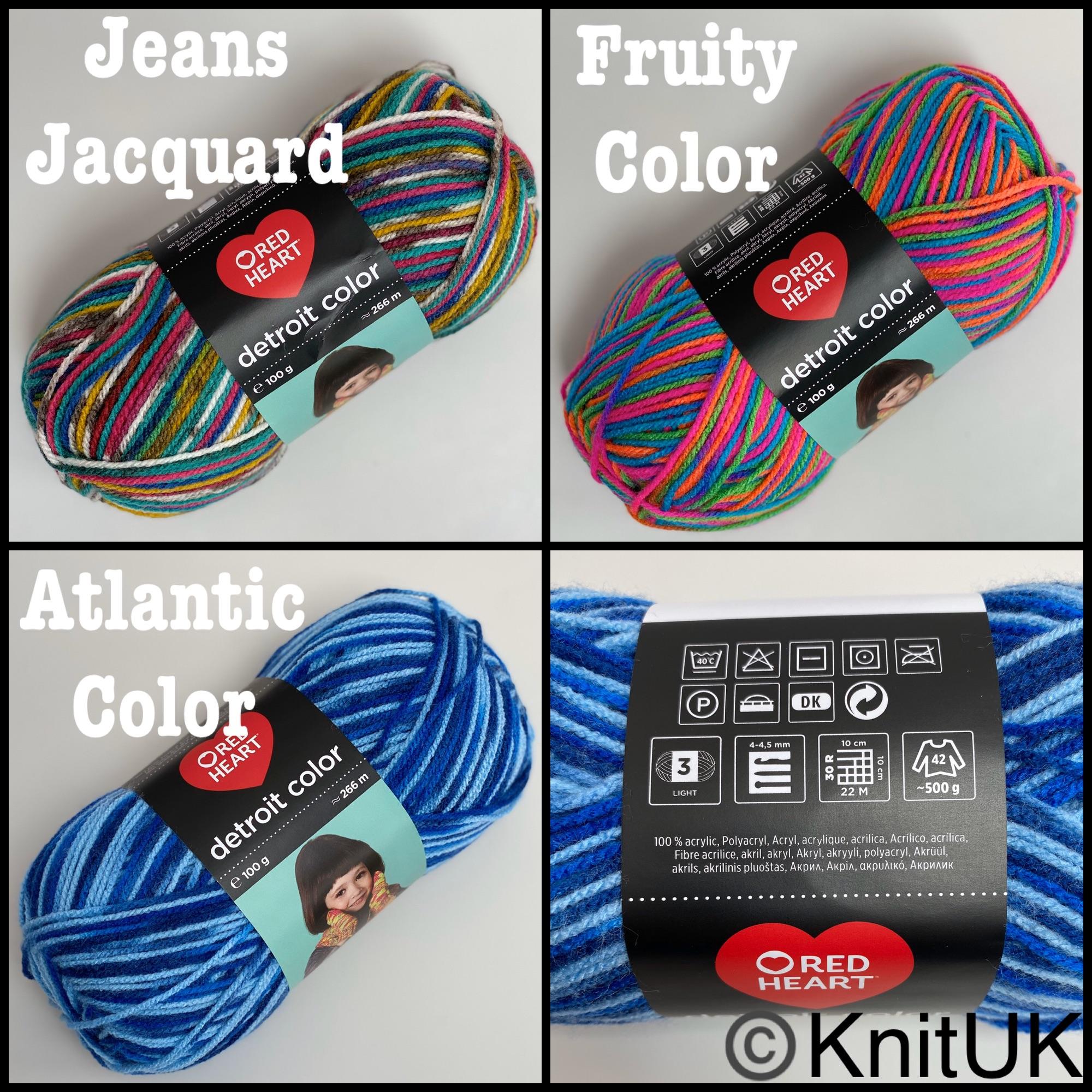 Red heart detroit color dk yarn colours jeans jacquard fruity atlantic knit