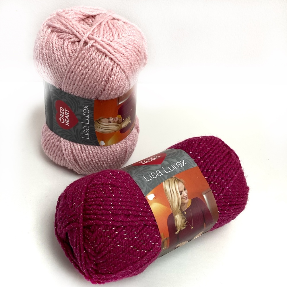 Red Heart Lisa Lurex (50g). DK yarn for knitting and crochet.