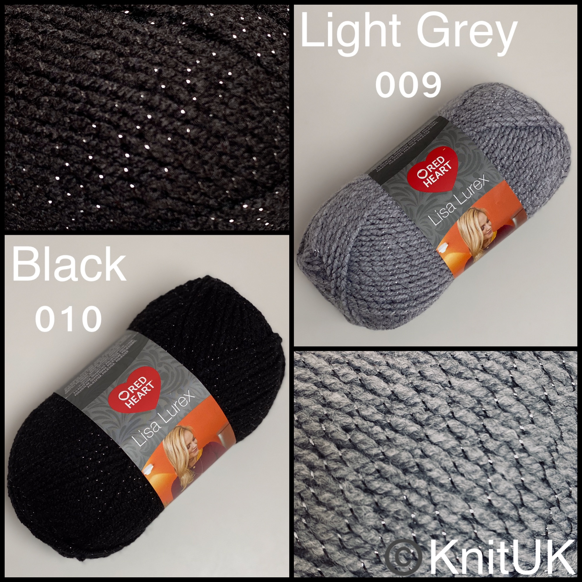Red heart lisa lurex dk fashion knitting yarn balls black light grey colour