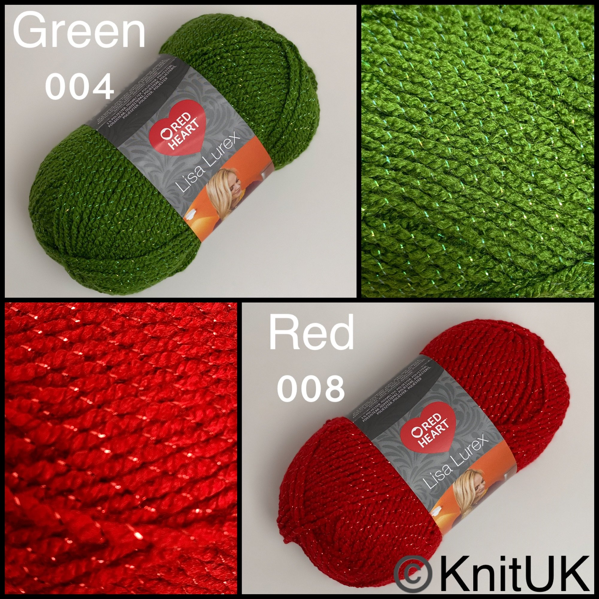 Red heart lisa lurex dk fashion knitting yarn balls red green colours