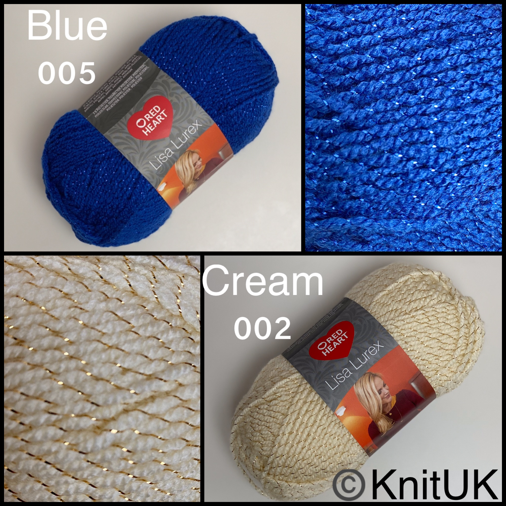 Red heart lisa lurex dk fashion knitting yarn balls blue cream colours