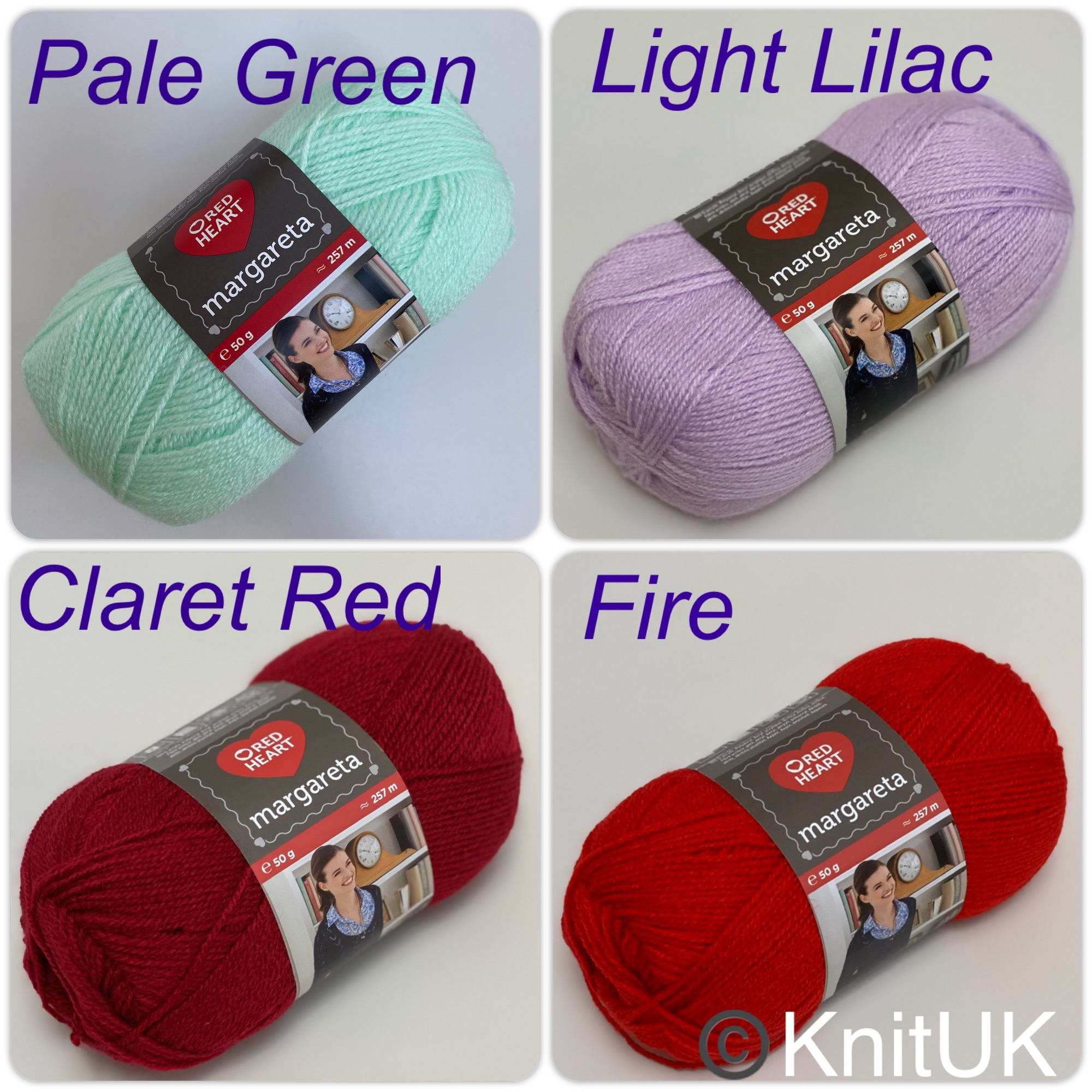 red heart margaret knitting crochet yarn pale green light lilac claret red