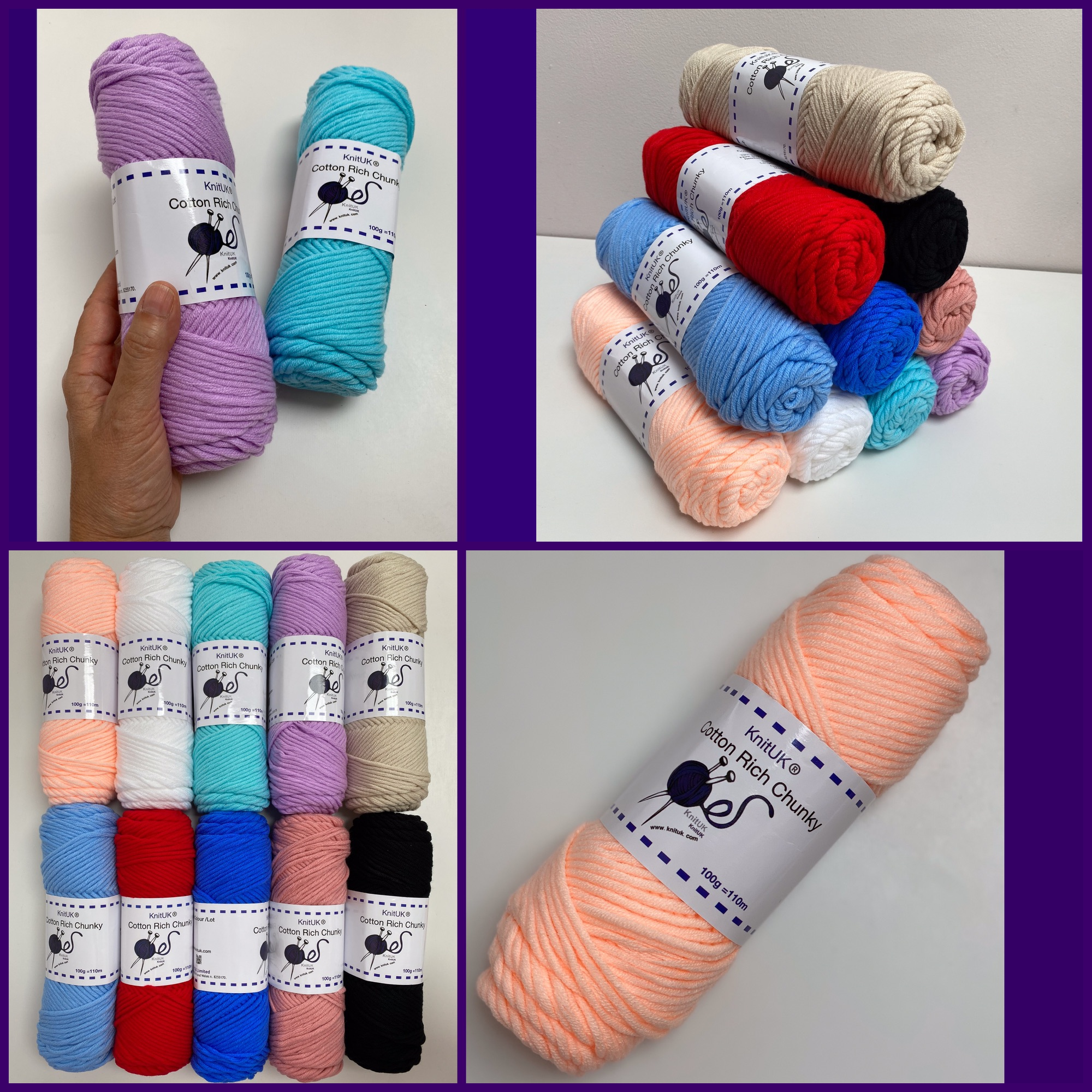 knituk cotton rich chunky knitting loom crochet yarn 4 pictures