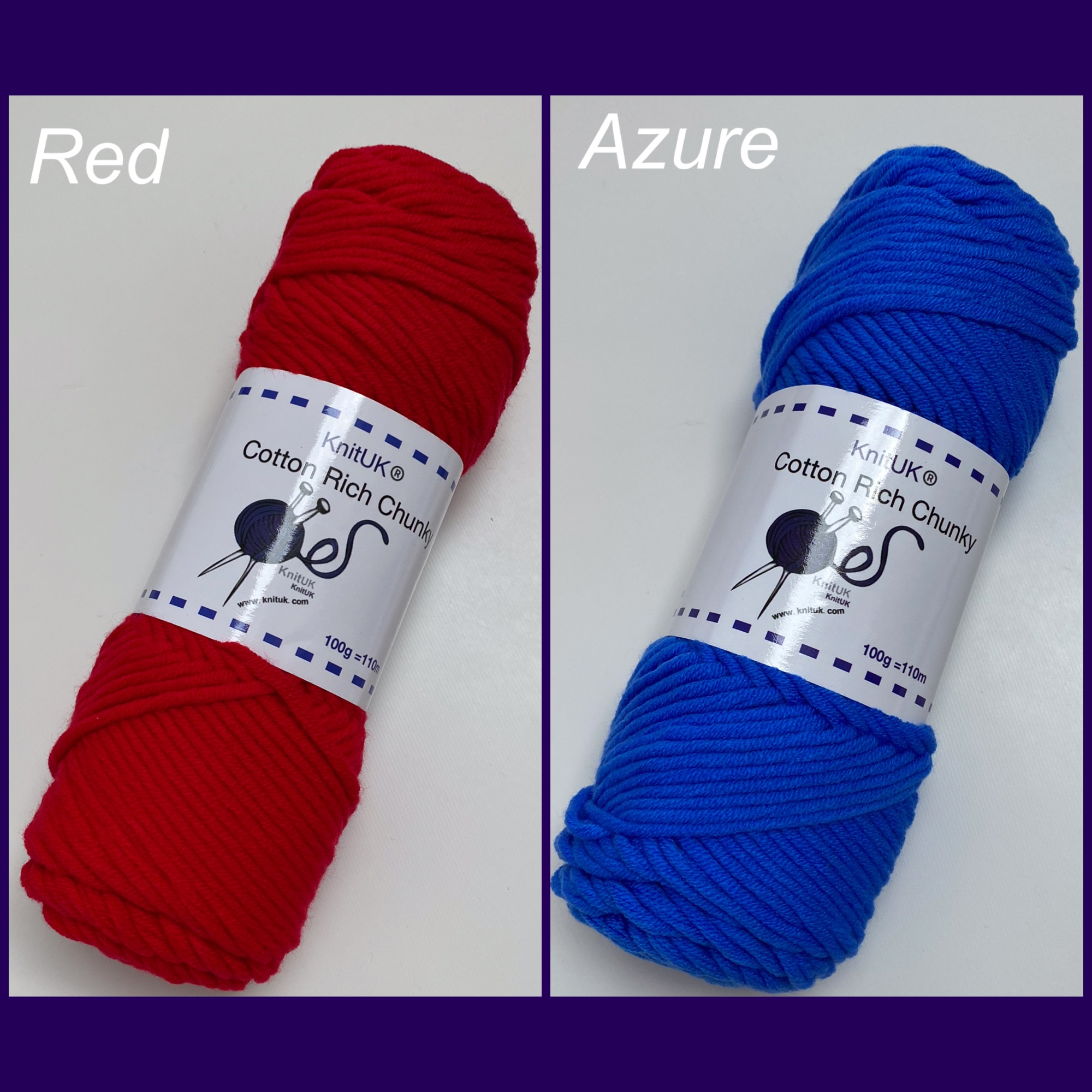 Knituk cotton rich chunky yarn red azure colour long balls knitting loom cr