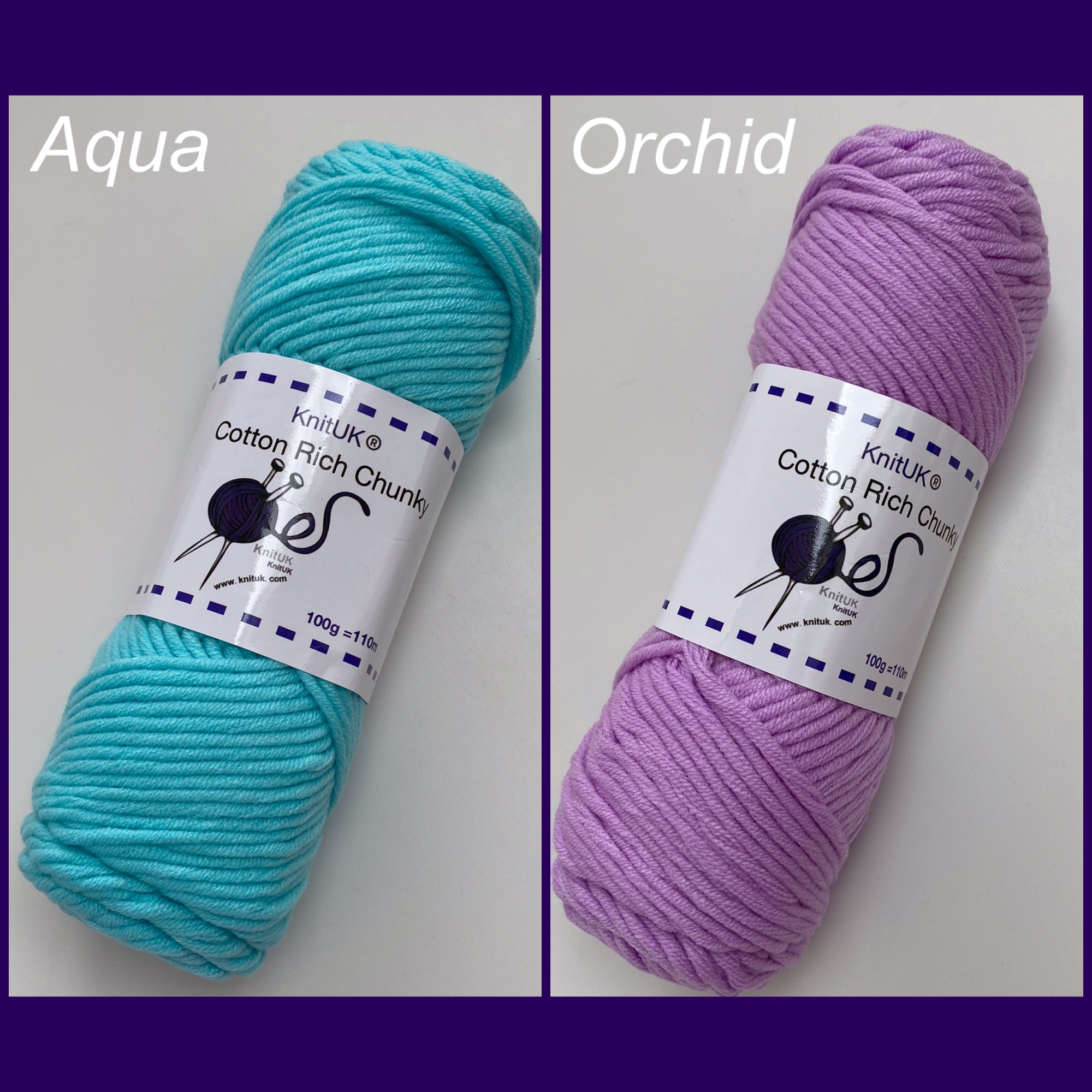 Knituk cotton rich chunky yarn aqua orchid colour long balls knitting loom
