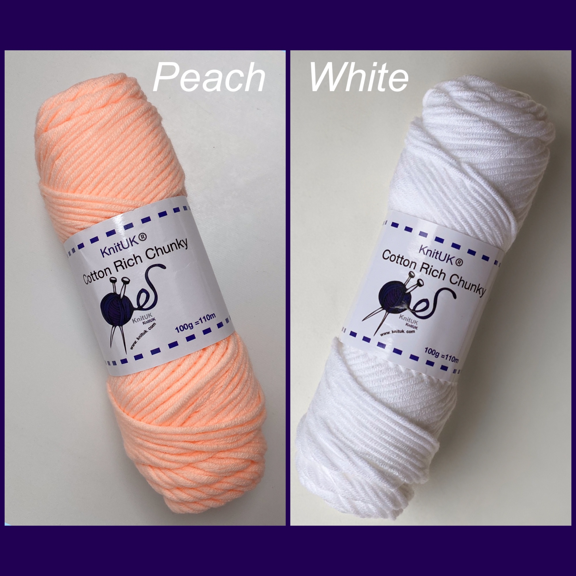 Knituk cotton rich chunky yarn white peach colour long balls knitting loom