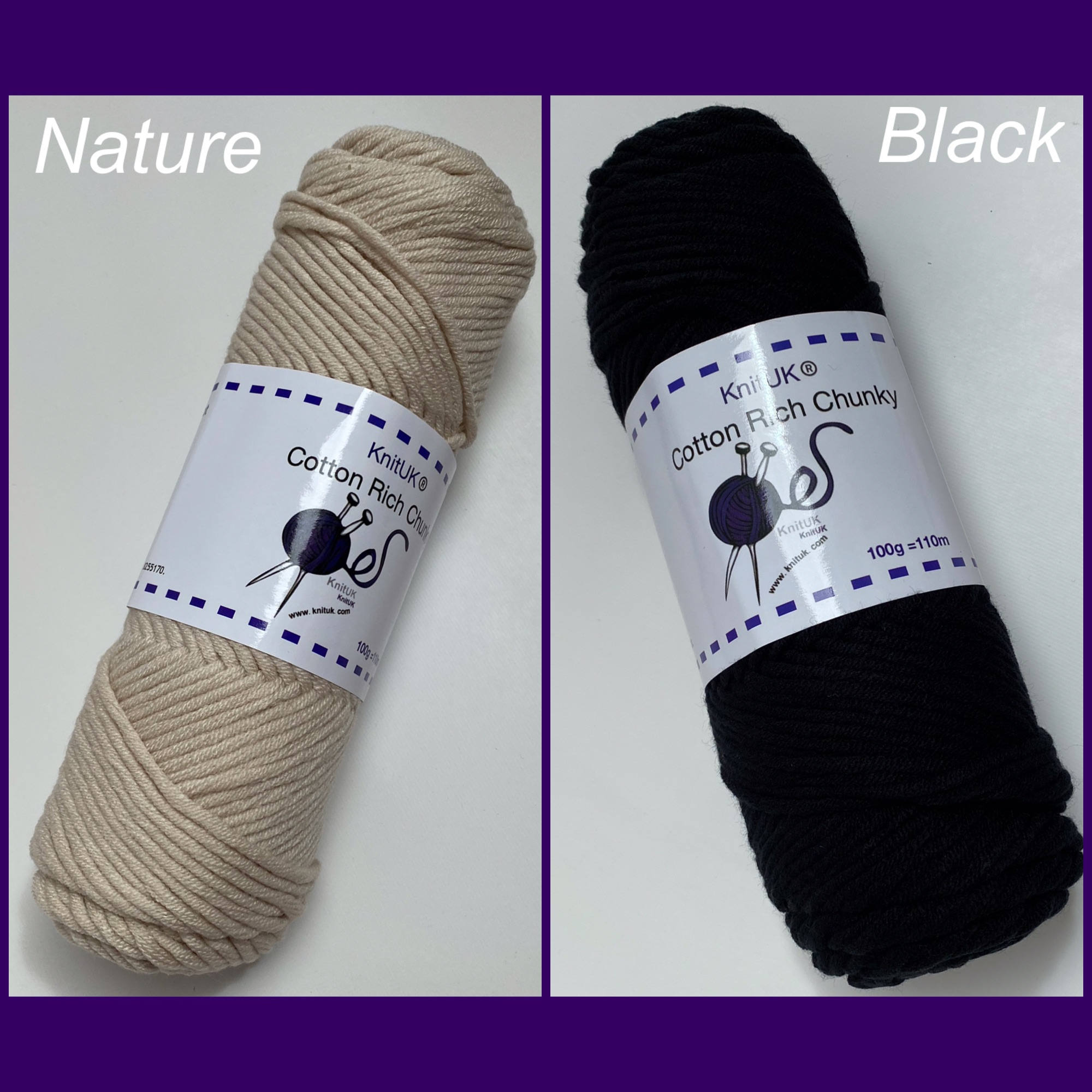 Knituk cotton rich chunky yarn nature black long balls knitting loom croche