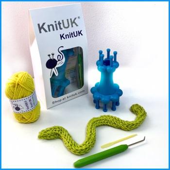 KnitUK Double-End Spool Loom. 2 in 1 French Knitter. Blue
