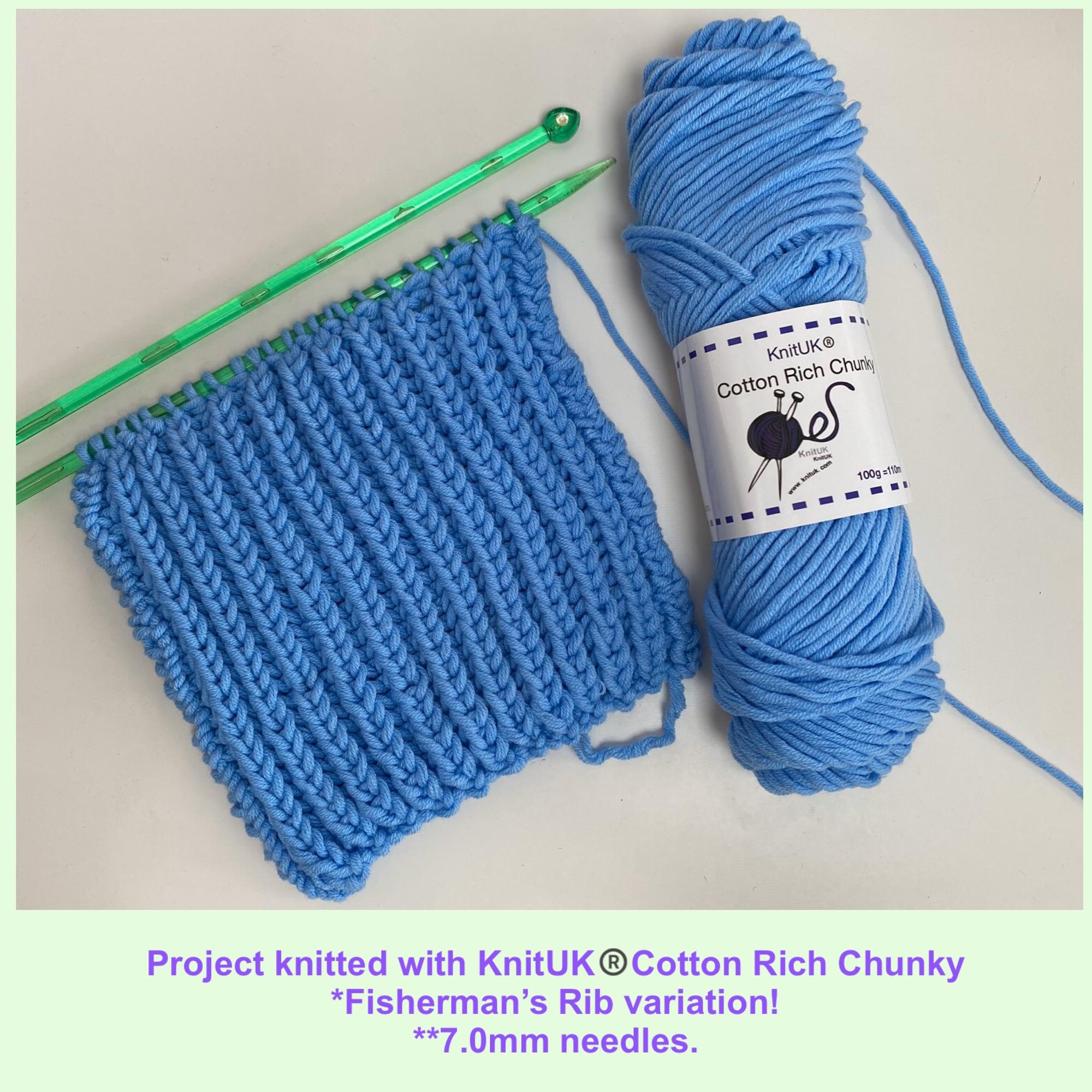 knituk cotton rich chunky yarn knitting fishermans rib in 7 mm needles