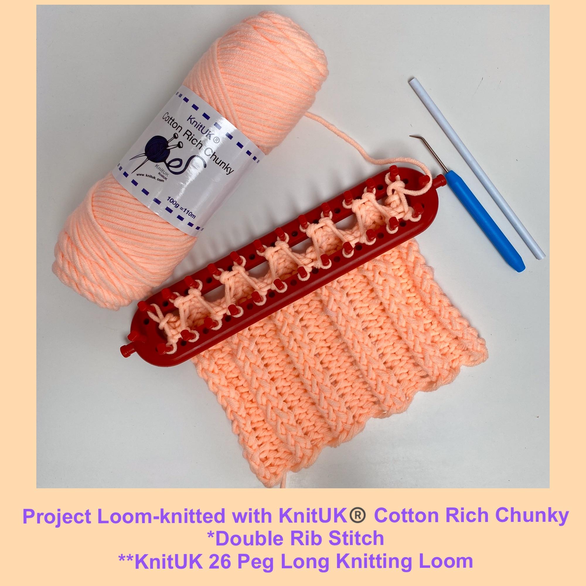 KnitUK cotton rich chunky yarn knitting loom scarf double rib