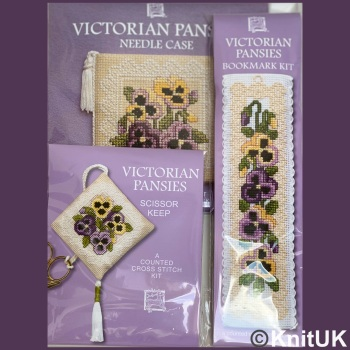 Gift Pack Victorian Pansies. Cross Stitch Kit by Textile Heritage