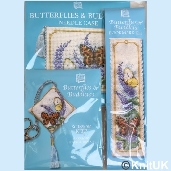 Gift Pack Butterflies & Buddleias. Cross Stitch Kit by Textile Heritage
