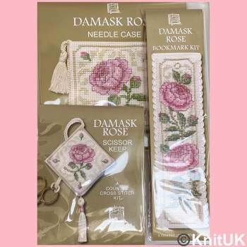 Gift Pack Damask Rose. Cross Stitch Kit by Textile Heritage