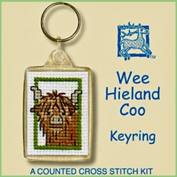 KEYRING Wee Hieland Coo. Cross Stitch Kit by Textile Heritage (Made in UK)