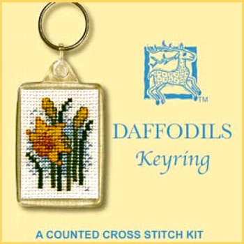 KEYRING Daffodils. Cross Stitch Kit by Textile Heritage (Made in UK)