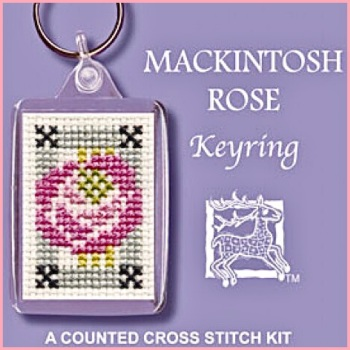 KEYRING Mackintosh Rose . Cross Stitch Kit by Textile Heritage (Made in UK)