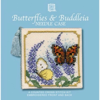 Needle Case Butterflies & Buddleia. Cross Stitch Kit by Textile Heritage.