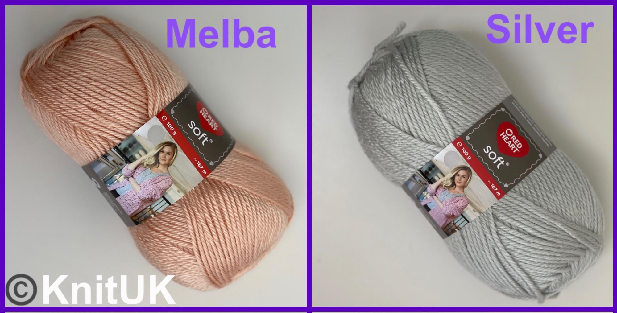 Red Heart Soft melba silver aran Loom knitting crochet yarn