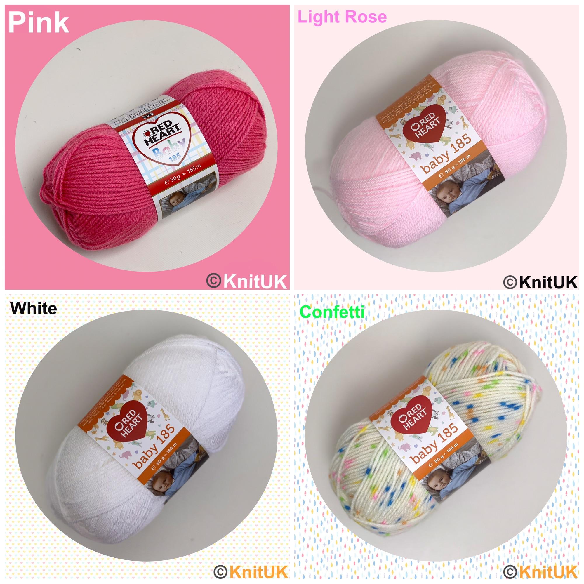 Red Heart Baby 185 Yarn pink light rose white confetti loom knitting croche