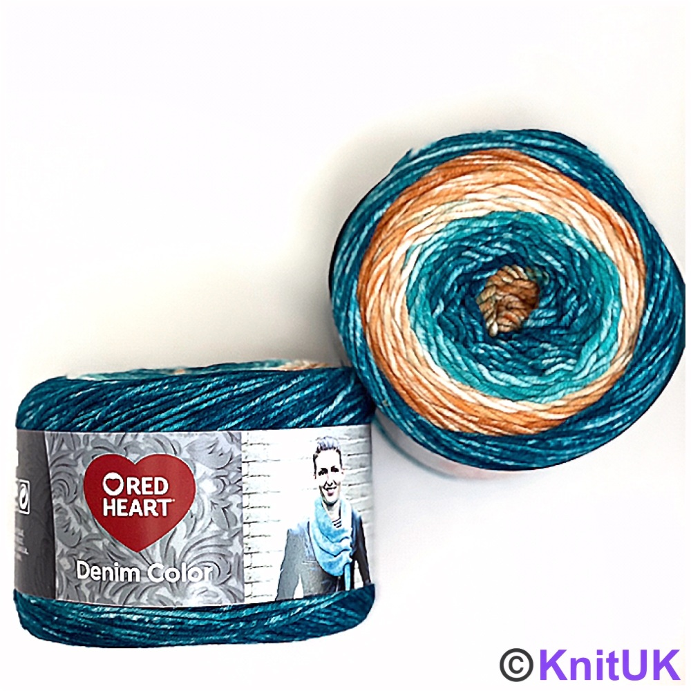 Red Heart Denim Color (150g). Aran yarn for knitting and crochet.