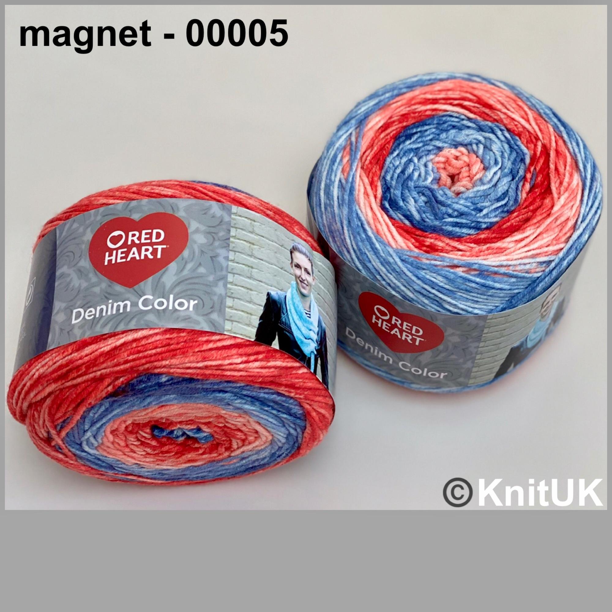Red heart denim color magnet colour acrylic yarn loom knitting crochet
