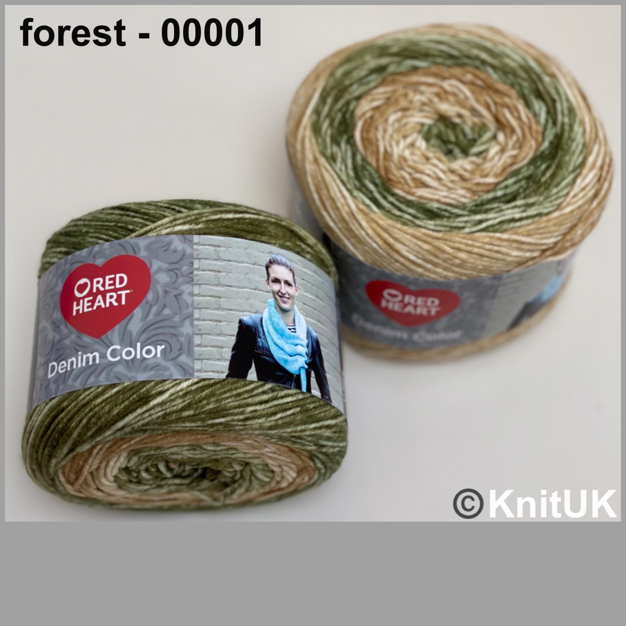 Red heart denim color forest colour acrylic yarn loom knitting crochet