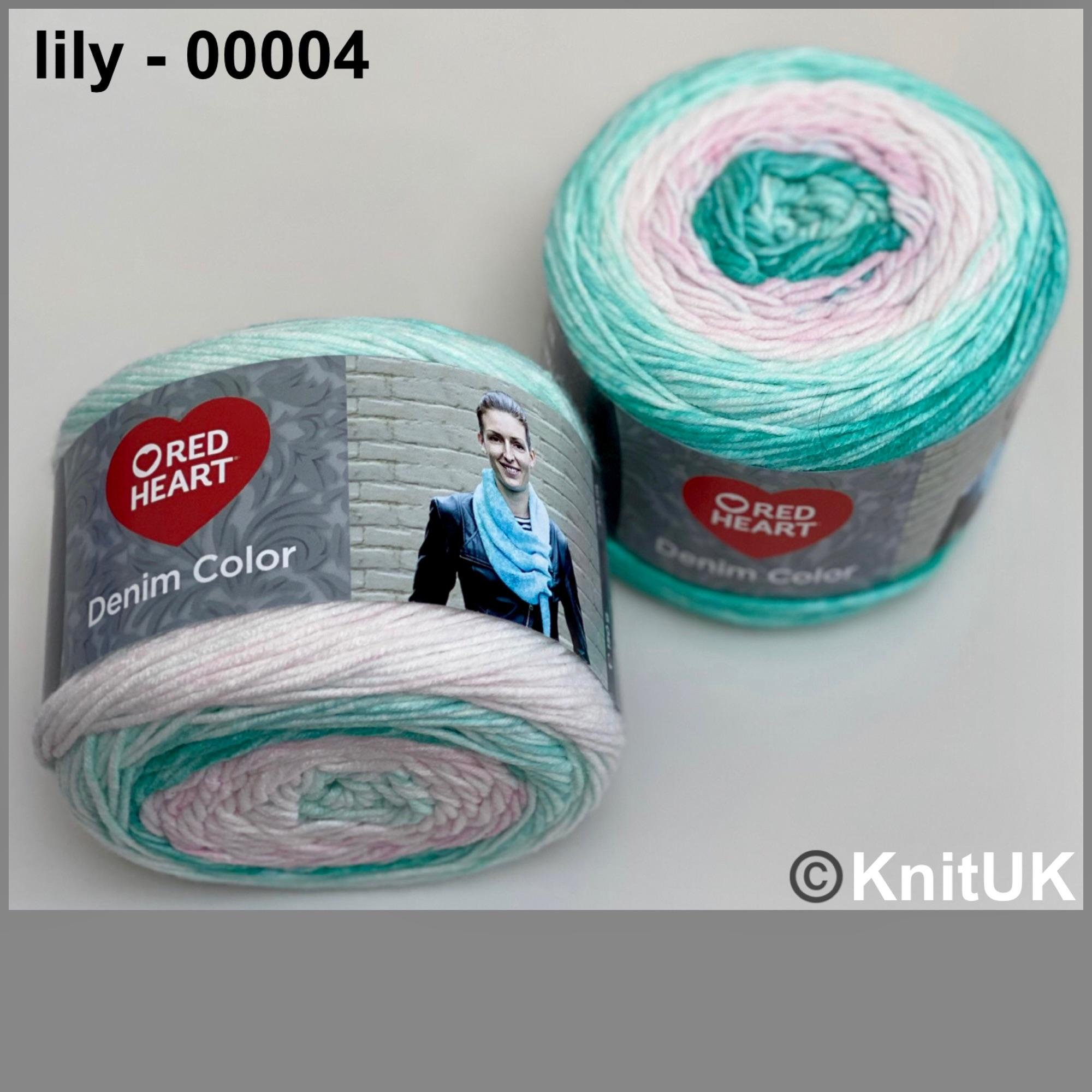 Red heart denim color lily colour acrylic yarn loom knitting crochet